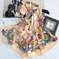 170*55 CM de Seda Real de Lujo Mujeres de la Marca de Invierno Insignias Británico Impreso Bandana Bufanda Chales Echarpe Foulard Bufandas Pareol Hijab S6