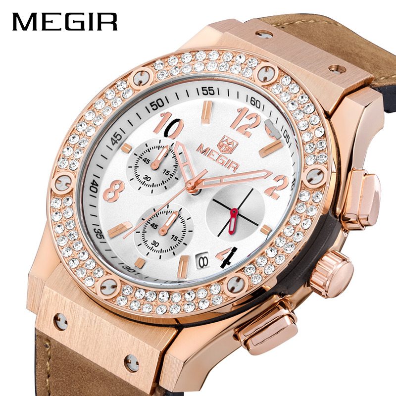 MEGIR Top Brand Luxury Women Watches with Silicone Strap Chronograph Ladies Quartz Wrist Watch Women Clock for Lovers Hour 2034 hot relogio feminin silicone strap unisex men women quartz analog wrist watch women ladies lovers black white watches wholesale