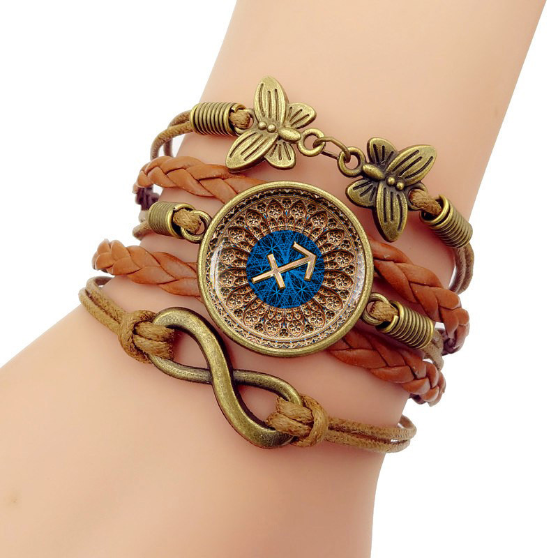 Twelve constellations Sagittarius Zodiac Girls Braided Wristband Bracelet Men for Jewelry for Womens Gift Christmas Gift