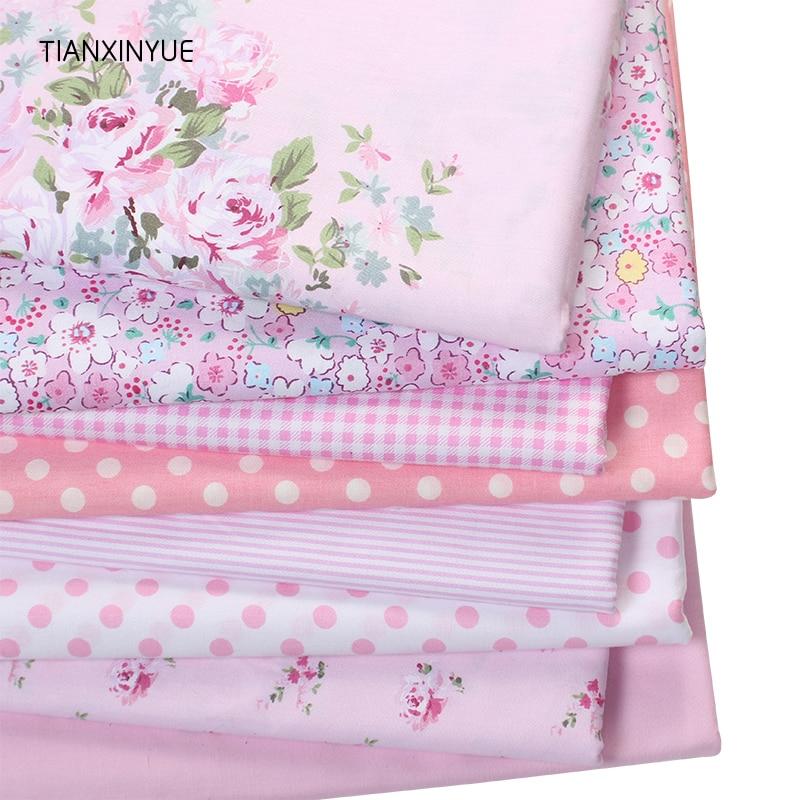 Tianxinyue rosa victoria conjunto flor impresso tecido de algodão para estofamento retalhos tecido tela roupas cama tissus
