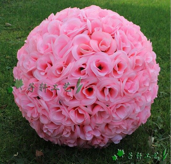 Online shop 30cm 12 inch pink artificial flowers wedding 30cm 12 inch pink artificial flowers wedding decorations silk kissing pomander rose flowers balls wedding bouquet junglespirit