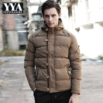 Korean Long Sleeve Hooded Button Mens Winter Jackets Fashion Thick Worm Solid Loose Plus Size Male Outerwear Coats Streetwear