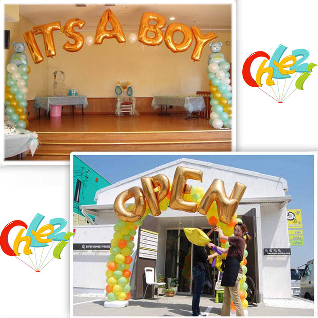 40inch Gold Silver Alphabet Helium Letter Balloons Birthday Make A