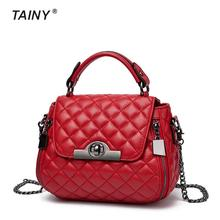 2017 New Arrival Tainy Genuine Leather Cow Leather Totes Diamond pattern Casual Women Top-handle Bags size Mini
