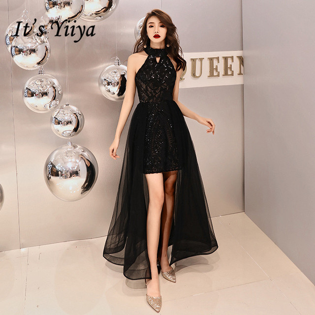 It's YiiYa Evening Dress Bling Black Romantic Tiered Hem  Formal Dresses Women Fashion Halter Zipper Long Party Gown E090
