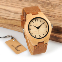 HOT SALE Wood Handmade Item Nature Bamboo Wood Watch For Women Wooden Wristwatch With Genuine Leather