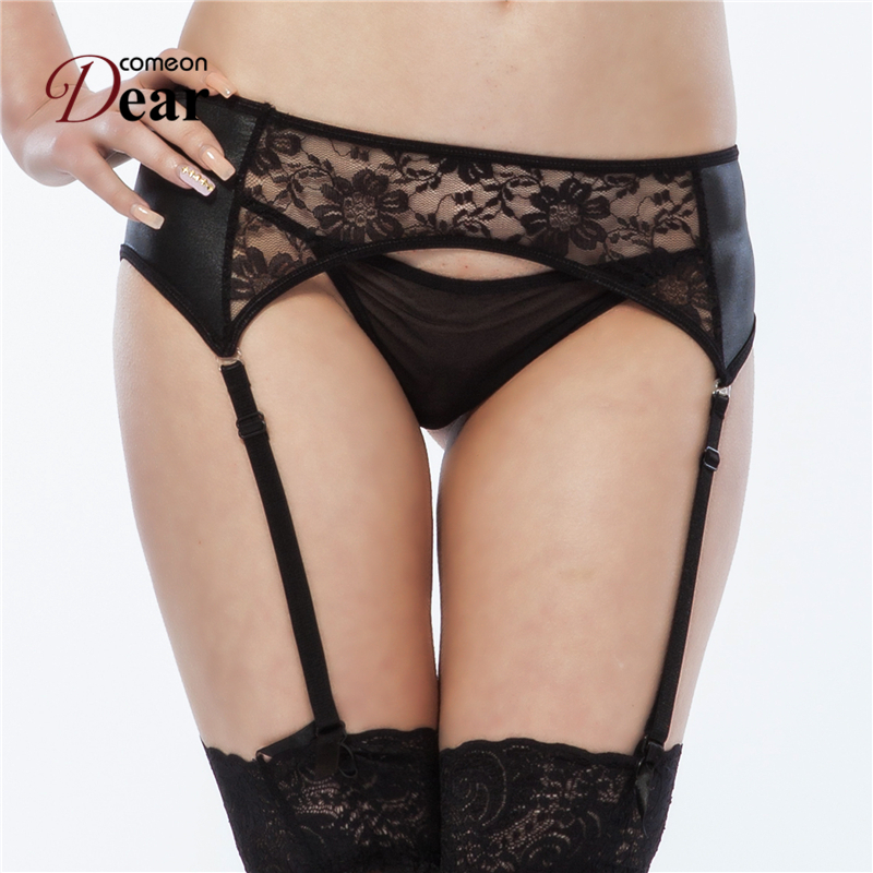 Comeondear Lace Garters Ladies Large Size Women Suspenders Black Faux Leather Garter Belt Sexy For Stocking Lingerie Belt PB5031