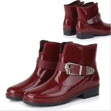 ผู้หญิงรองเท้าฝนสำหรับสาวสุภาพสตรีสบายๆเดินกลางแจ้งล่าสัตว์กันน้ำยางรองเท้าข้อเท้ามาร์ตินRainboots 3สี