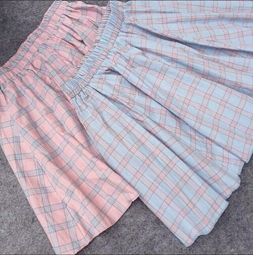 893c5f6a67 Super Cute Girls Pink & Blue Plaid Checks Student Cotton Mini Skirt Big Hem  Casual Summer Short Skirt Lolita Style