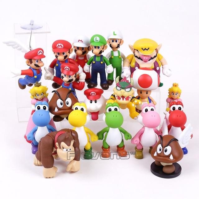 c4109fa386d46 Super Mario Bros PVC Figura de Brinquedo Mario Luigi Wario Yoshi Bowser  Peach Toad Donkey Kong