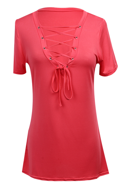 Women T Shirt Casual Solid...