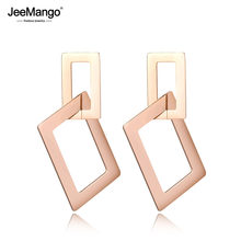 JeeMango-Bijoux rectangulaires en acier inoxydable, creux, exagéré, or Rose, clous d'oreilles, JE18060
