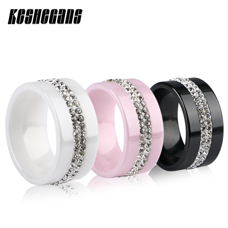 New 10mm Black White Pink 2 Row Crystal Ceramic Ring Women
