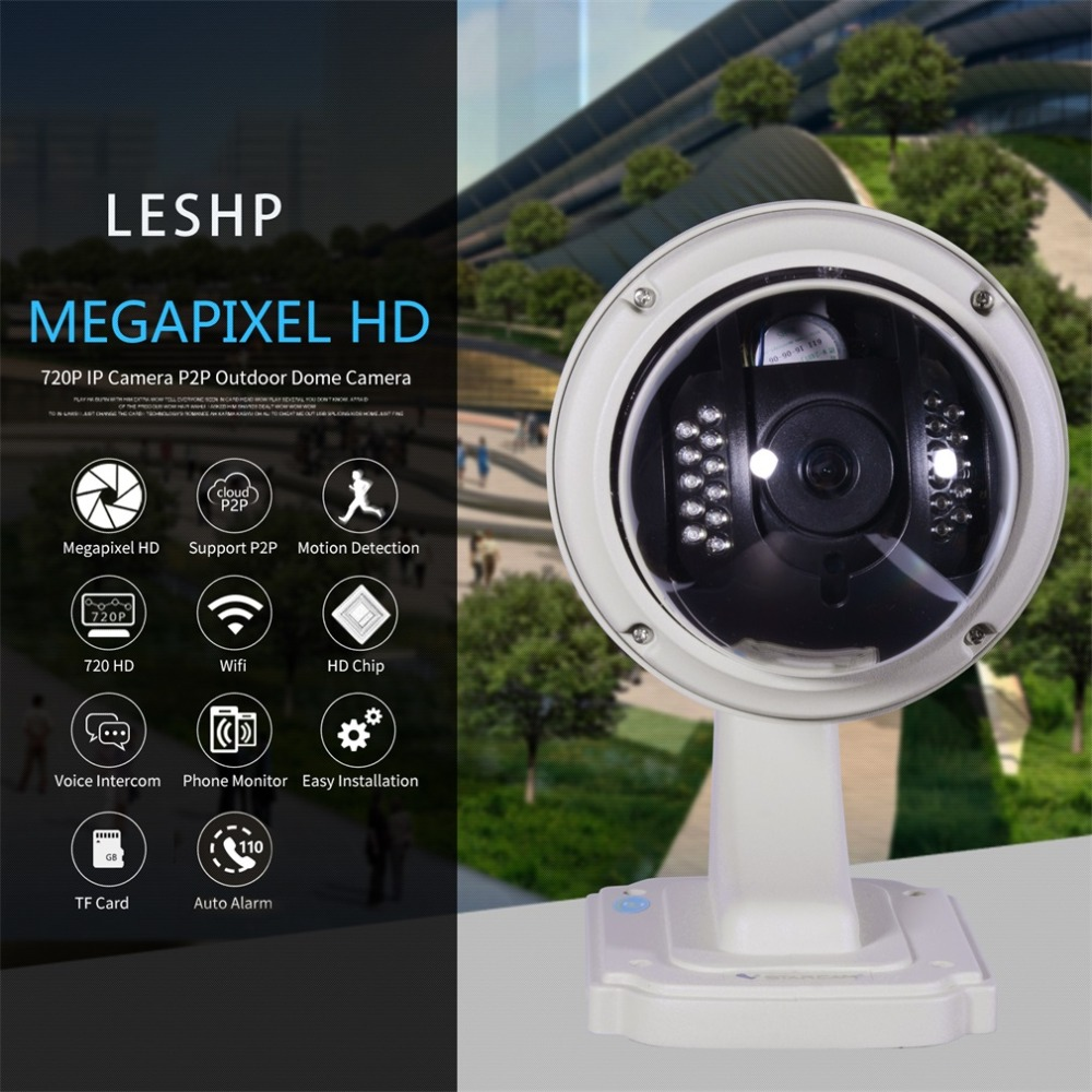 WiFi 1MP HD 720P Durable IP Camera P2P Plug and Play Outdoor Dome PTZ Wireless Security with Pan/Tilt IR Cut Camera free shipping p2p 720p 1mp hd plug