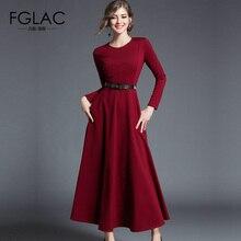 Fglac Женщины платье Новый 2018 Весна Длинные Платье с рукавами Элегантный тонкий сплошной цвет Винтаж праздничное платье высокого качества бренд Vestidos