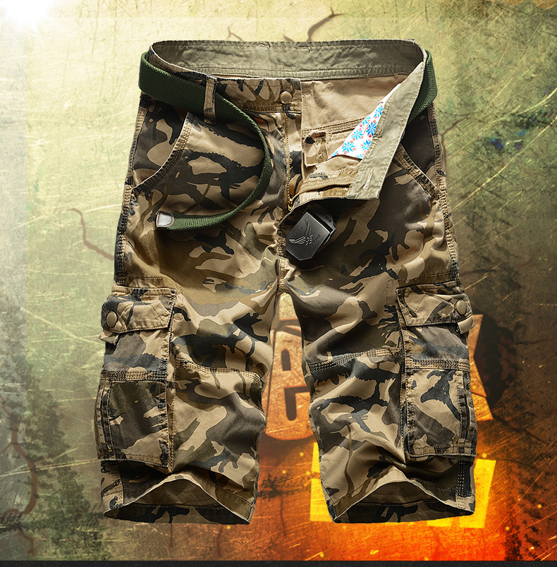 2017 New mens summer military cotton geen camo summer Short bermuda jeans male fashion casual baggy cargo shorts Casual Loose
