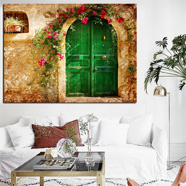 Wonderful Digital Prints 3D European Old House with Green Doors Oil Painting  HR49
