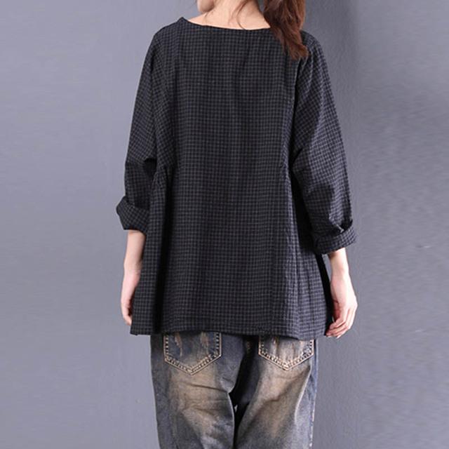 Top Blusas 2018 Women  Crew Neck Long Sleeve Plaid Check Autumn Cotton Linen Casual Party Pleated Flounce Blouse Shirt Plus Size