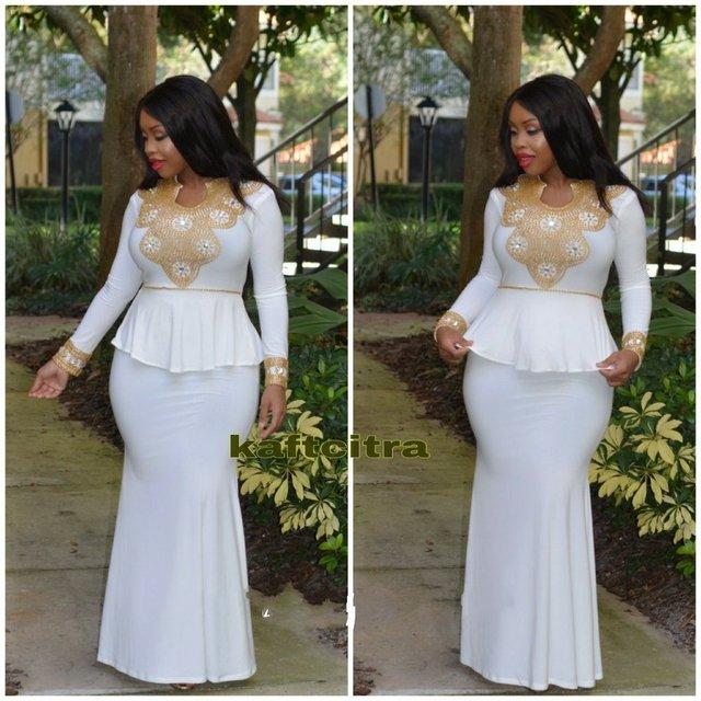 Morrocan Kftan Abaya White and Gold Beaded Prom Dresses 2017 Sparkling Long  Sleeves Mermaid Turkish Dubai Evening Gowns Vestido 339b09d5d917