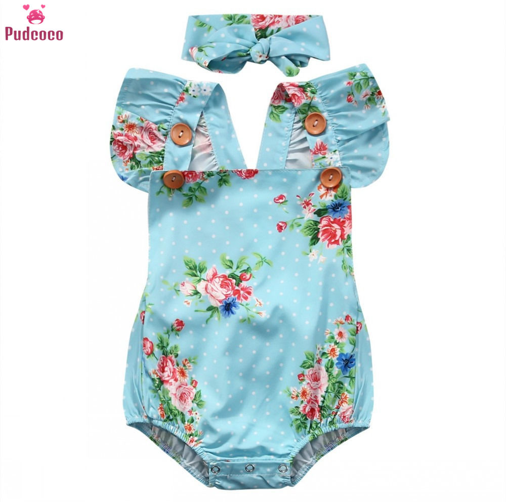 Fashion Newborn Baby Girl Clothes Floral One Piece   Romper   Jumpsuit Sunsuit with Headband Christmas   Rompers   Set 0-24M
