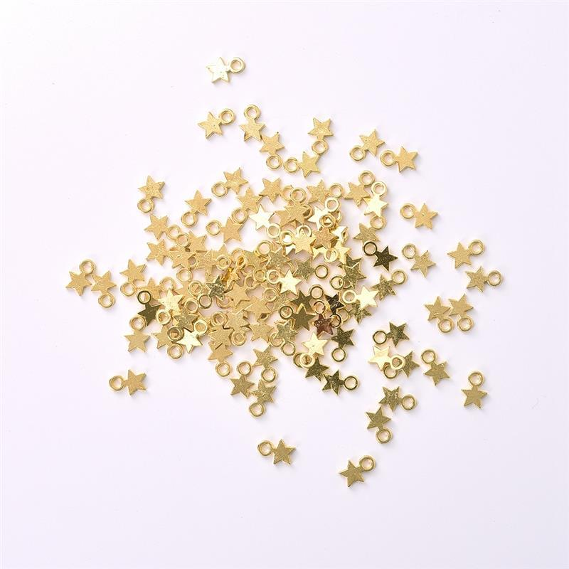 100Pcs Gold Silver Color Stars Pendant DIY Jewelry Accessories Necklace Bracelet Women Jewelry Findings Making Wholesale