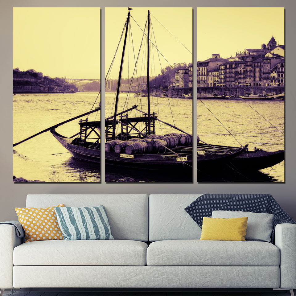 Art Painting Modular HD Printed Canvas Poster 3 Panel Portugal City River Boat Framework ...