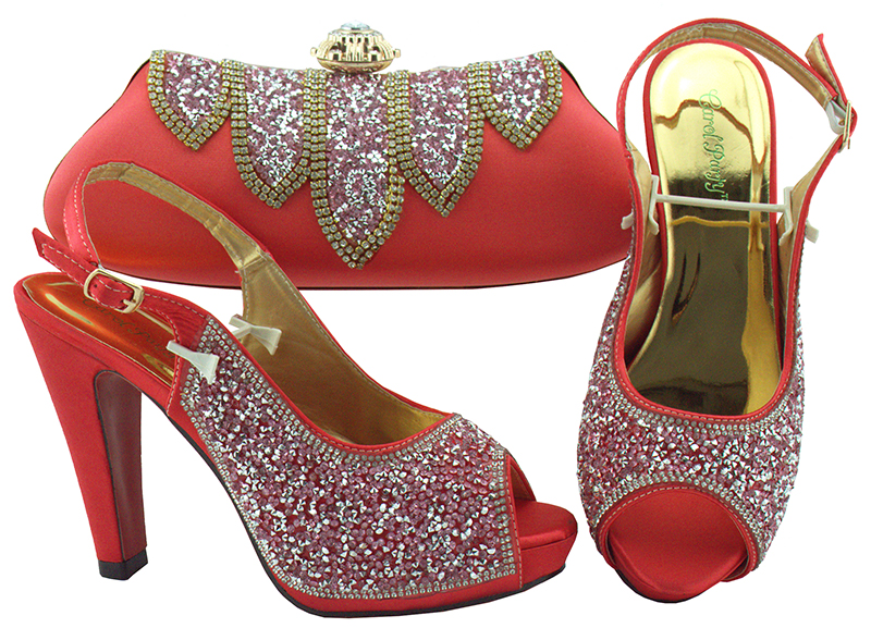 New Coral Color Italian Ladies Wedding Shoes And Bag Set Decorated With Rhinestone African Matching Shoes And Bags In Women