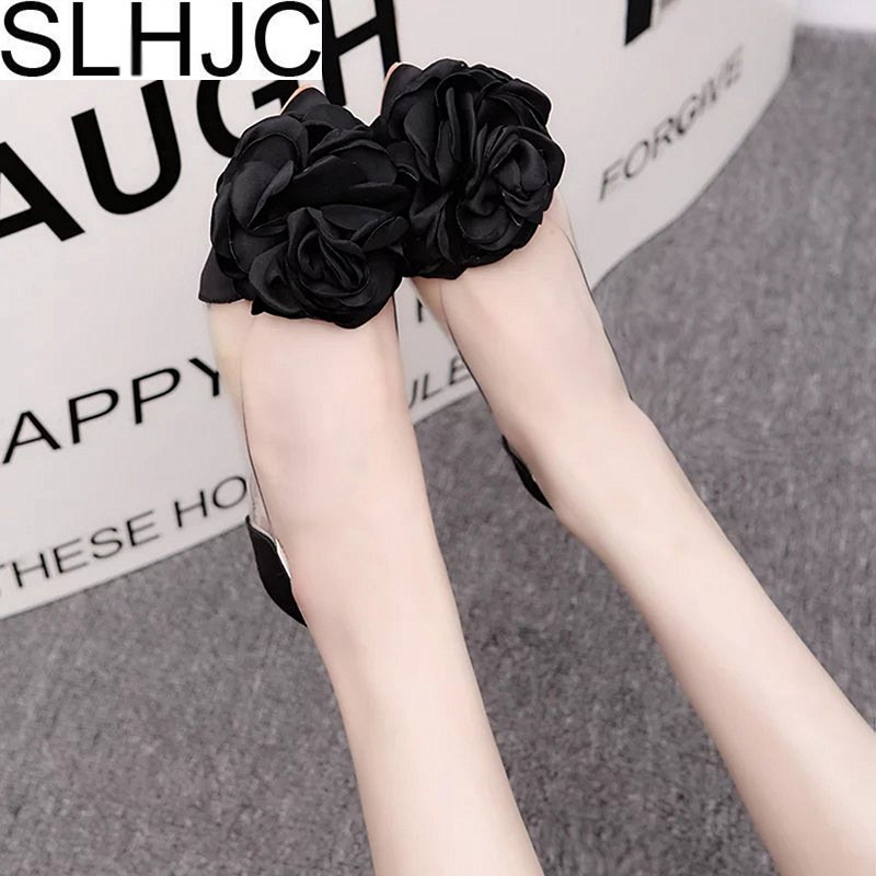 SLHJC Camellia Flower Flats Shoes Women 2018 Spring Summer Leather Flat Heel Casual Shoes Sandals Sweet Girls Shoes instantarts women flats emoji face smile pattern summer air mesh beach flat shoes for youth girls mujer casual light sneakers