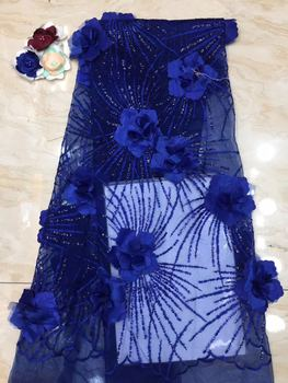 2019 High Quality African Lace Fabric Blue French Net Embroidery Sequins Tulle 3d Lace Fabric For Nigerian party Dress FJ3302