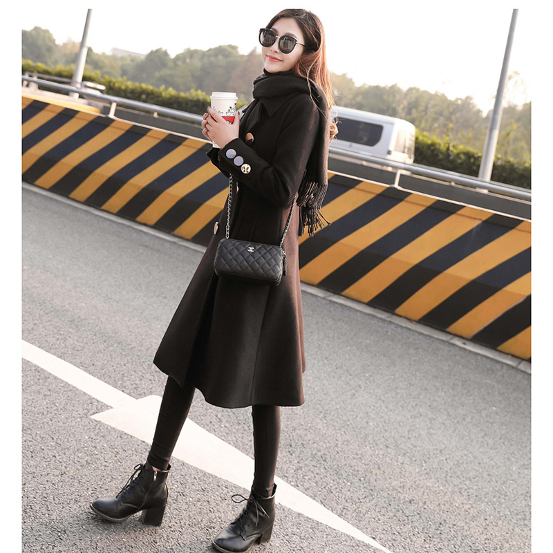 Abrigos de lana mujer invierno negro elegante lana abrigos doble pecho manga larga delgada mezcla de lana abrigo caliente - 3