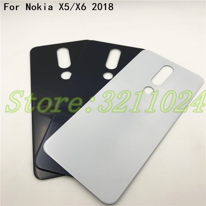 Good quality Original New Glass Housing Panel For Nokia X5 X6 (2018) Back Cover Battery Cover Case Repair Part +Logo