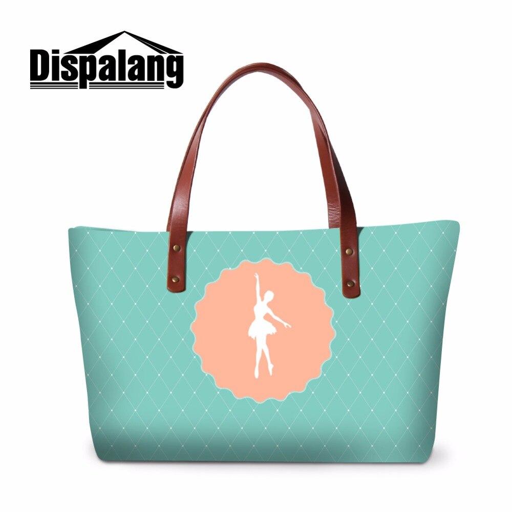 Dispalang Stylish Ladies Handbags Dancing Ballet Girl Pattern Casual Shopping Bag Women Summer Beach Bag Top Handle Shoulder Bag