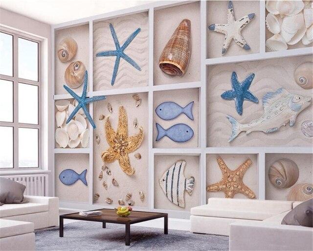 Beibehang d carta da parati delle stelle marine di sabbia di