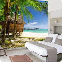 Photo Wallpaper High Quality 3d Wallpaper HD Palm Beach Seascape Style Living Room Sofa Summer Large