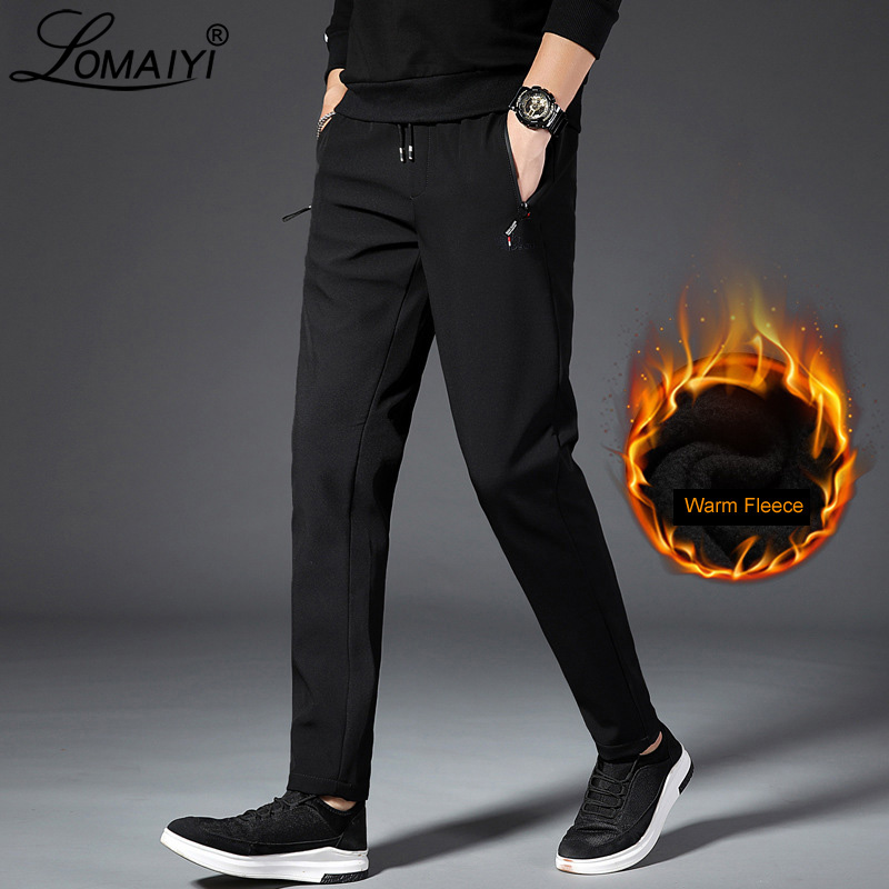 LOMAIYI Men's Winter Pants Men Loose Stretch Sweatpants Thicker Joggers Male Trousers Male Plus Size Fleece Lining Pants BM294