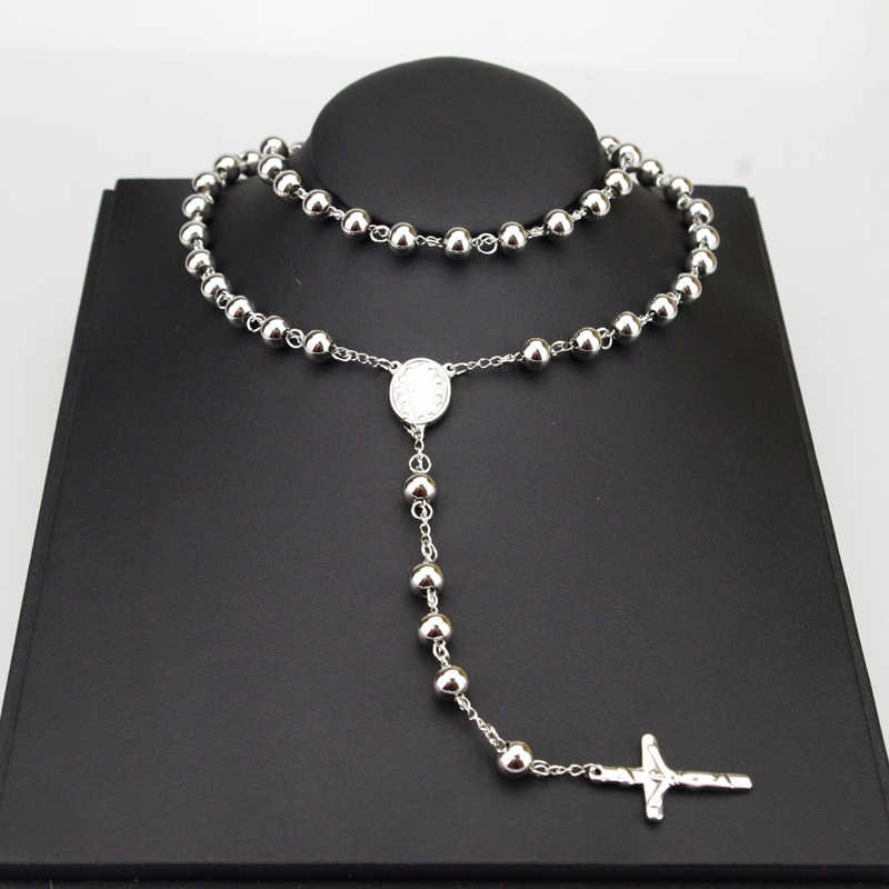 AMUMIU 8mm Classic Silver Rosary Beads chain Cross Religious Catholic Stainless Steel Necklace Women's Men's Wholesale HZN080