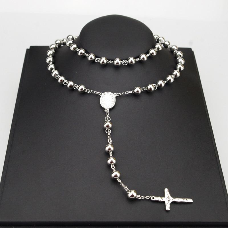 Prix pour 8mm Classique Argent Chapelet Perles chaîne Croix Religieuse Catholique En Acier Inoxydable Collier de Femmes Hommes de Gros HZN080