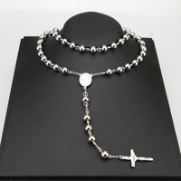 8mm Classic Silver Rosary Beads Chain Cross Religious Catholic Stainless Steel Necklace Women S Men S
