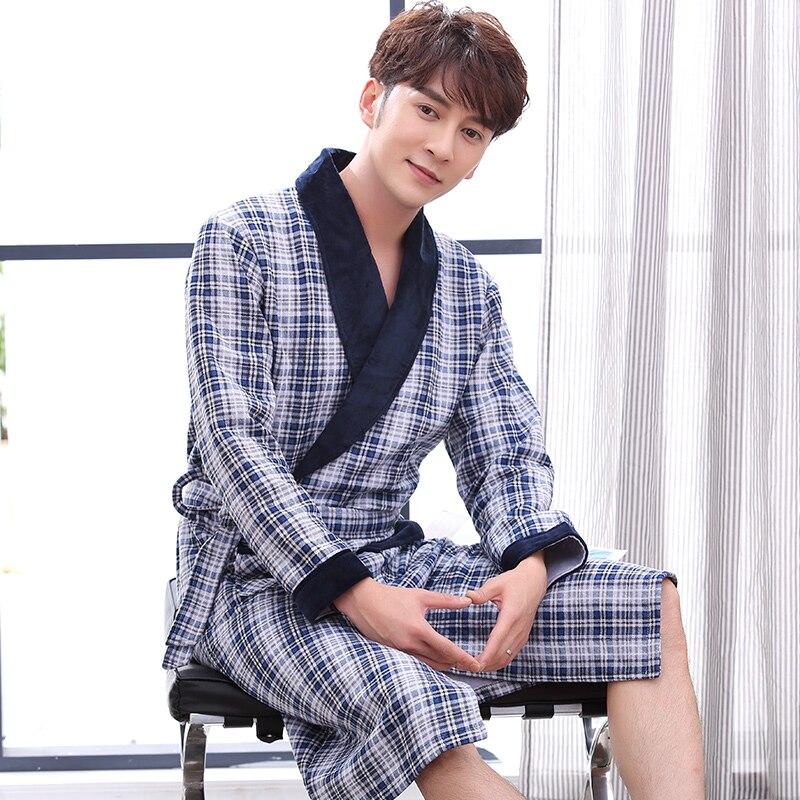 Motiviert J & Q Neue Baumwolle Bademantel Herren Morgenmantel Hause Kleidung Herren Bad Roben Kimono Männer Yukata Baumwolle-gepolsterte Plaid Classy Bademäntel