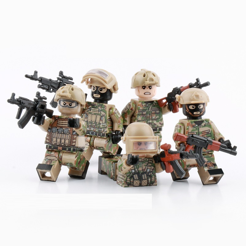 5PCS Russian Army Modern Special Forces Mini Figures Military Weapons Parts Accessories Playmobil Bricks Building Block Toys