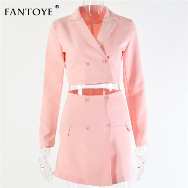Fantoye Summer Fashion Official Two Piece Set Women Pink V Neck Mini Bodycon Dress Set Full Sleeve Casual Coat Streetwear Suits 5