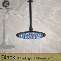 Free Shipping 8 Inch Ceiling Mounted Led Light Rain Shower Head Black Round Rainfall Color Changing Showerhead with shower arm