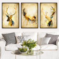 Modern Watercolor European Luxury Gold-Colored Deer A4 Art Print Poster Canvas Painting wall Pictures for Living Room Home Decor