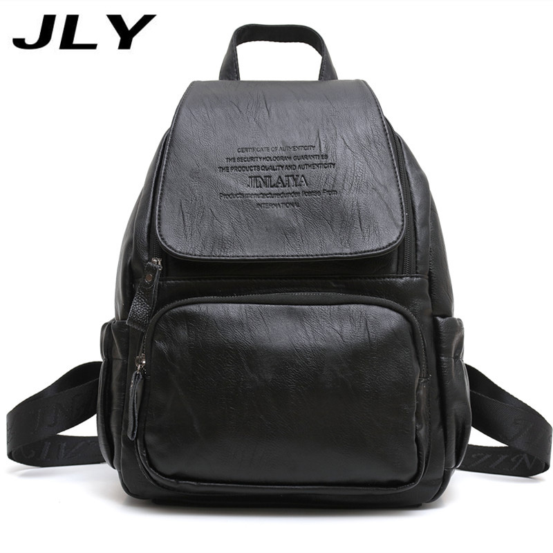 JLY Women Leather Backpacks Bolsas Mochila Feminina Large Girls Schoolbag Travel Backpack Solid Candy Color Female Backpacks dida bear women leather backpacks bolsas mochila feminina girls large schoolbags travel bag sac a dos black pink solid patchwork