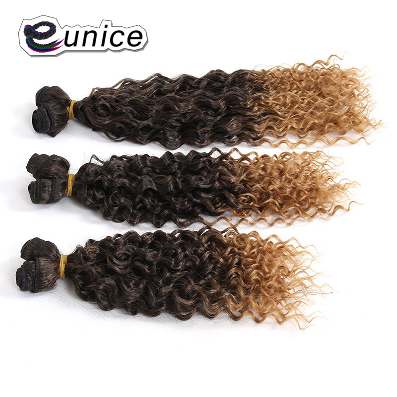 "Eunice Synthetic Bulk Hair Ombre Brown Blonde Hair Weave Kinky Curly Weaving Double Weft High Temperature Fiber 14""16""18""inches"