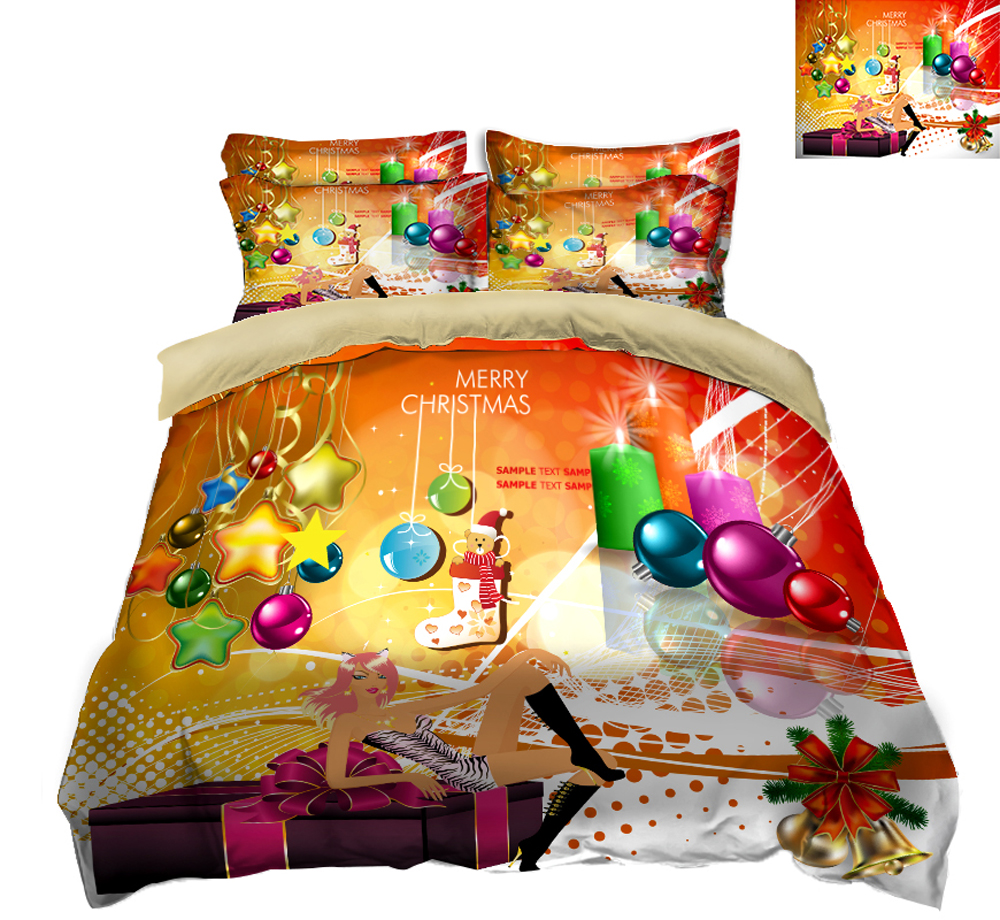 twin size 3D bedding set Pillowcase bed cover decorate Queen California king flat sheet Luxury Christmas color ball twin size 3D bedding set Pillowcase bed cover decorate Queen California king flat sheet Luxury Christmas color ball