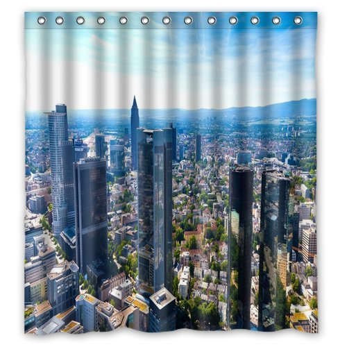Unique and Generic Shower Frankfurt germany city skyscrapers Curtain Custom Printed Waterproof fabric Polyester Bath Curtain