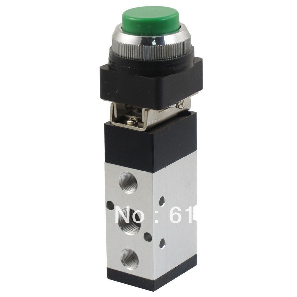 Air Drive MV522PPL 5 Port 2 Position Momentary Spring Return Green Push Button Pneumatic Mechanical Valve 1/4BSPT Inlet Outlet lonati la04e7 la10p6 7 stockings machine use air latch opener d5920009