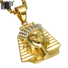 HIP Hop Gold Color Ancient Egypt Men Pendant & Necklace Ice Out Bling Pharaoh King Stainless Steel Titanium Necklaces Jewelry(China)