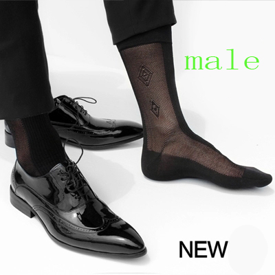 2017 High quality men Formal Silk socks Black sheer Jacquard Socks for male Sexy Foot Socks Black Retail Socks men Free shipping